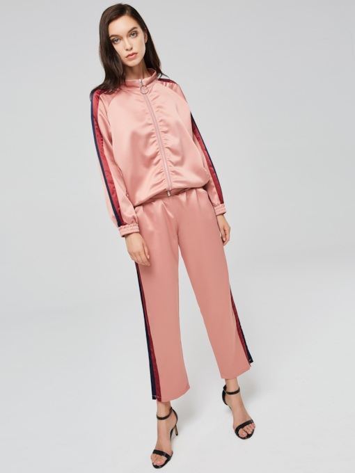 Sporty Jacket and Stripe Pants Women's Two Piece Set