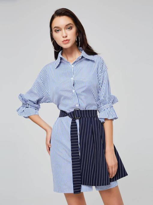 Striped Lapel Women's Shirt Dress