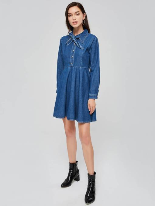 Bowknot Neck Denim Long Sleeve Day Dress