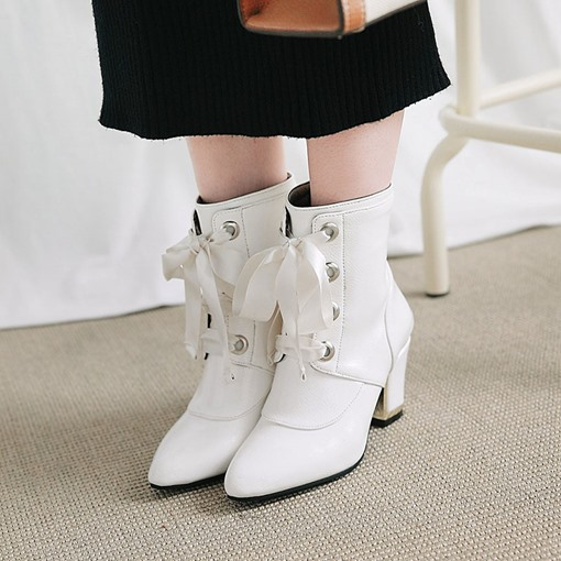 Cross Strap Pointed Toe Back Zip Chunky Heel Women's Ankle Boots