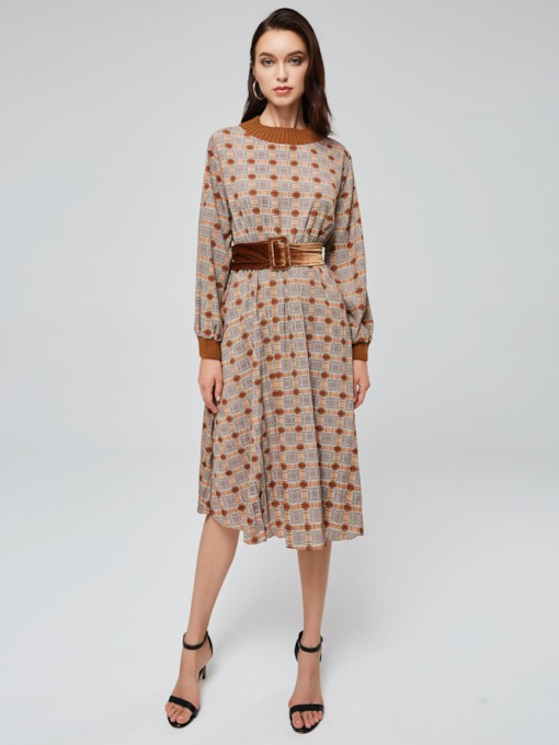 Stand Collar Lantern Sleeve Belt Day Dress