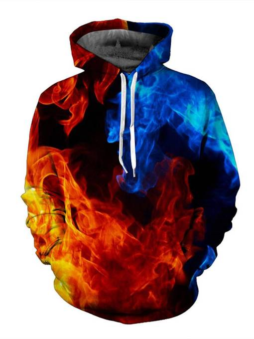 Fire Printed Hoodies Pullover Red And Blue Flame 3D Rrint Loose Men's Hoodie