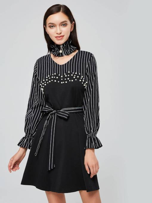 Lantern Sleeve Stripe Ruffle Belt Day Dress