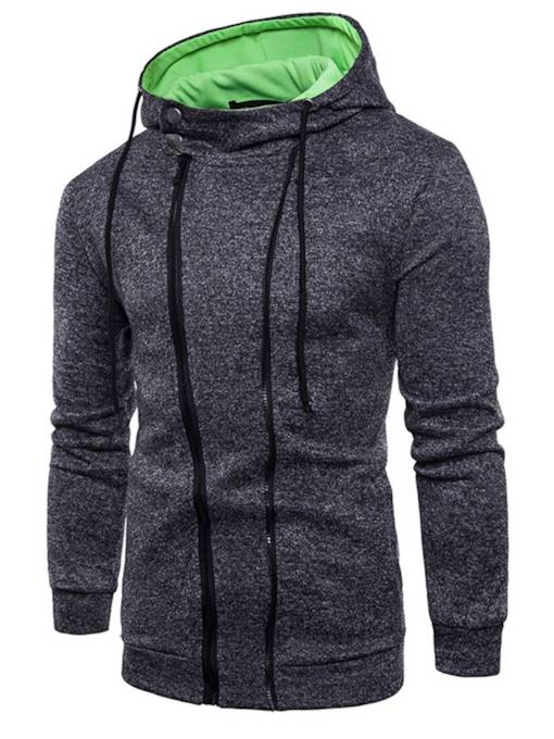 Single Zipper Hooded Loose Men's Hoodie