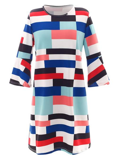 Flare Sleeve Geometric Pattern Day Dress