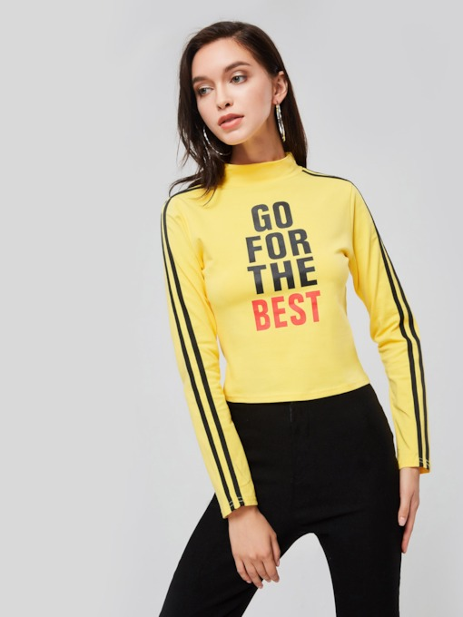 Letter Print High Neck Women's Cropped T-Shirt