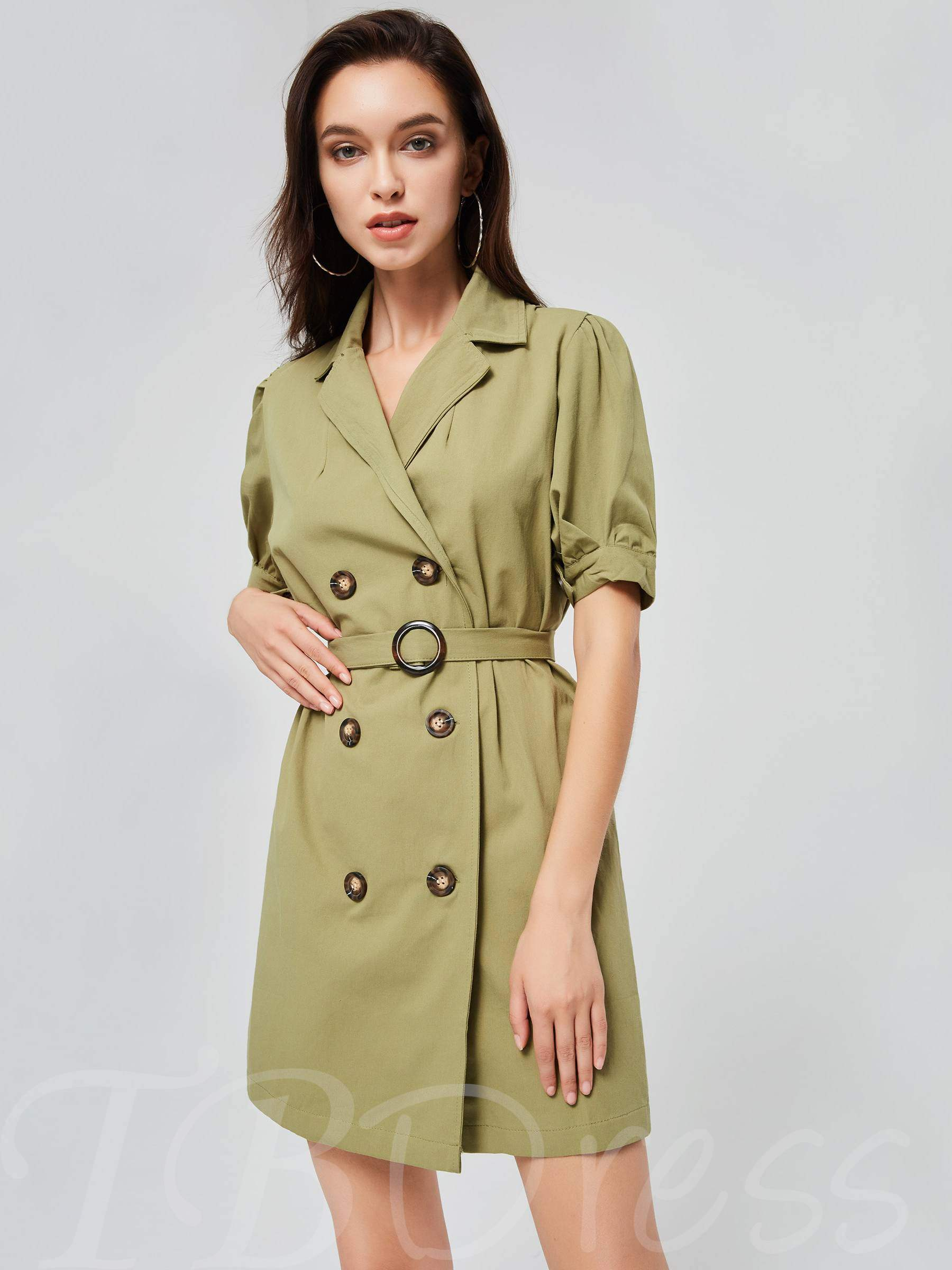 Buy Double-Breasted Lapel Women's Day Dress, Fall,Winter, 13391037 for $18.83 in TBDress store