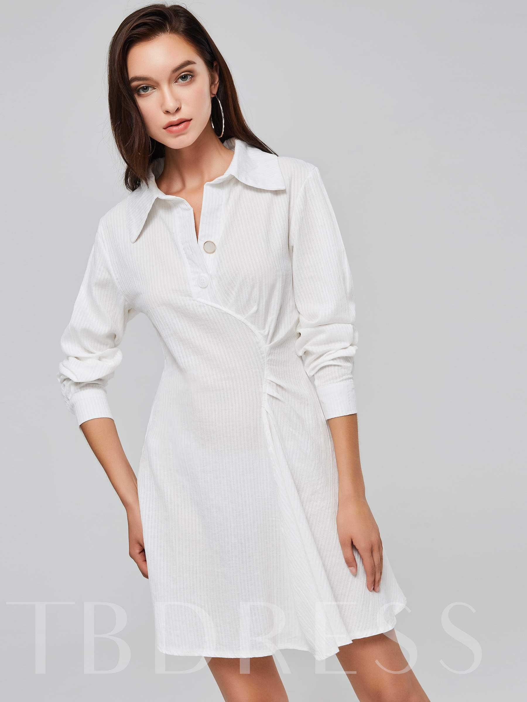 Buy White Lapel Ruffled Women's Long Sleeve Dress, Fall,Winter, 13391045 for $21.78 in TBDress store