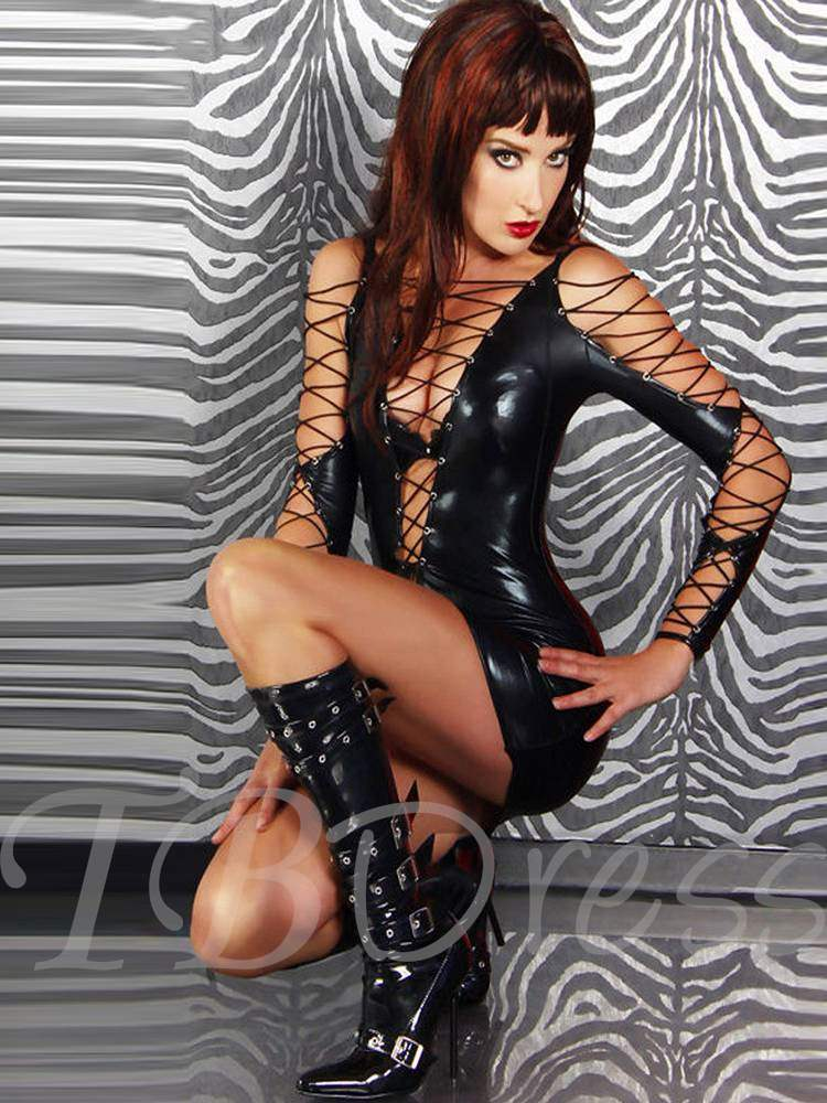 Long Sleeve Bundle Sexy Patent Leather Tight Short Dress