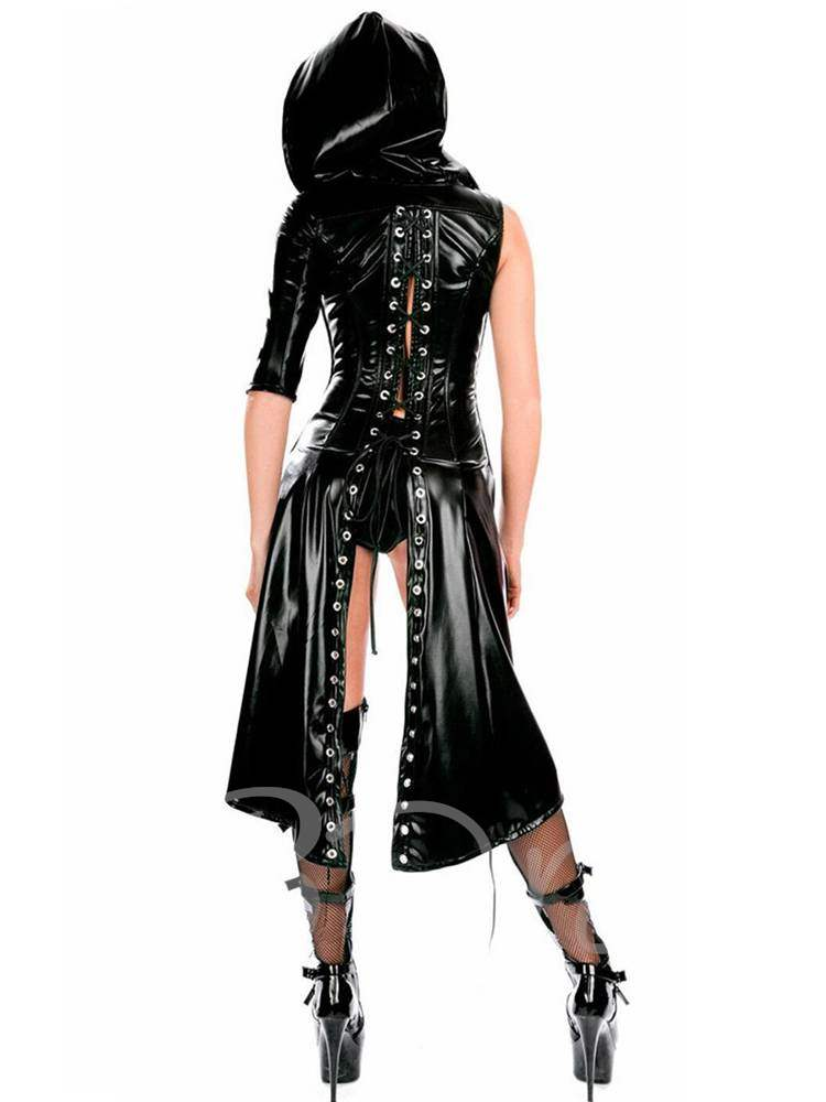 Clubwear Asymmetric Stringing Patent Leather Cloak