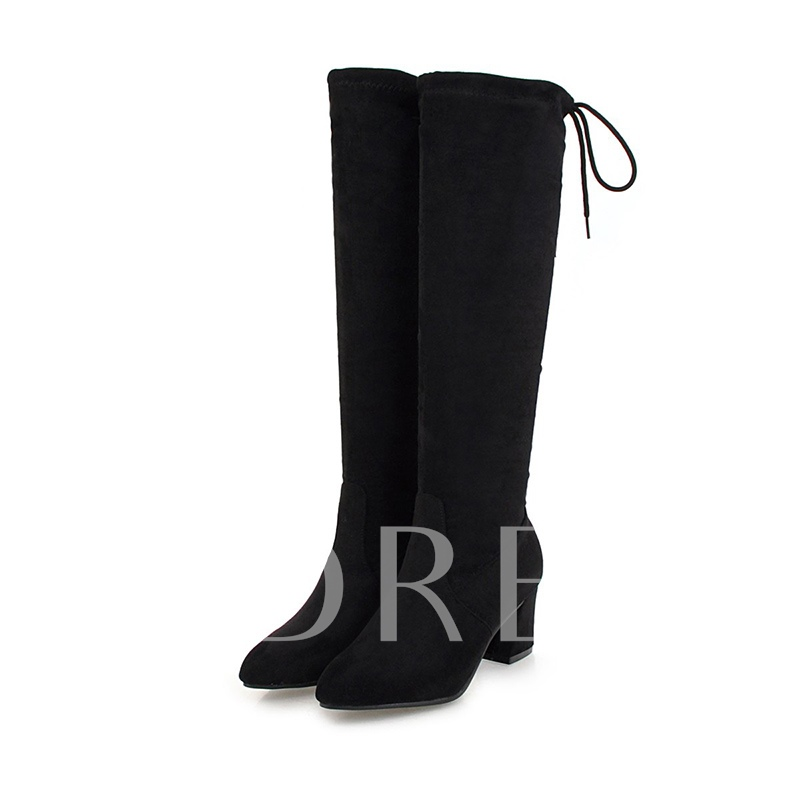 ac5bc5653866 Suede Chunky Heel Lace-Up Back Women's Knee High Boots - Tbdress.com