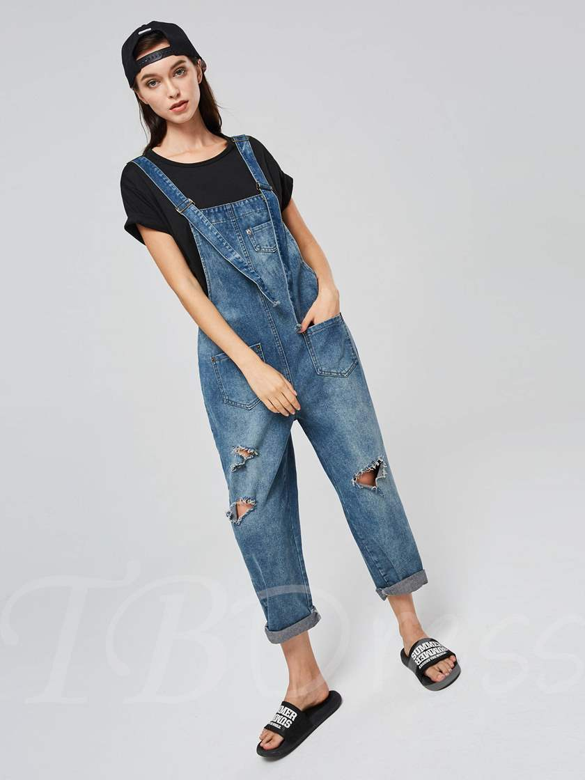 Hole Denim Loose Wide Legs Women's Overalls