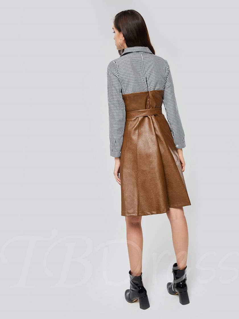 Stripe Sleeve Button Leather Belt Day Dress