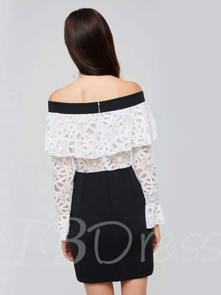 Off Shoulder Lace Flare Sleeve Women's Day Dress