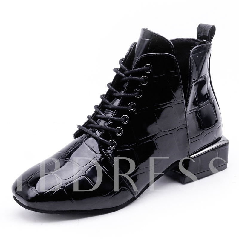 Buy Square Toe Block Heel Lace-Up Front Stylish Women's Ankle Boots, Spring,Fall,Winter, 13391484 for $39.99 in TBDress store