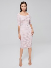 Pink Ruffle Off Shoulder Women's Bodycon Dress