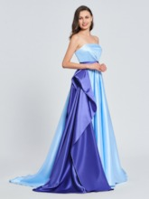 A-Line Strapless Ruffles Sashes Prom Dress