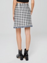 Gingham Print Tassel Bodycon Women's Mini Skirt