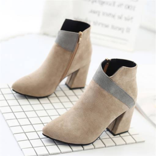 Pointed Toe Chunky Heel Side Zipper Color Block Women's Ankle Boots