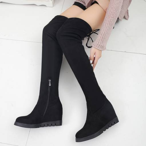 Round Toe Lace-Up Suede Side Zipper Elevated Thigh High Boots