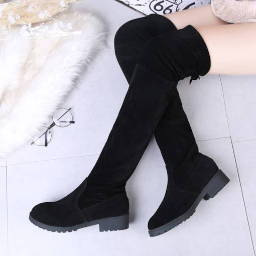 Round Toe Suede Slip-On Block Heel Comfy Women's Thigh High Boots