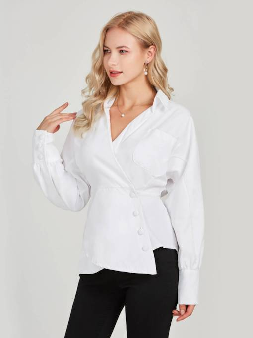 Lantern Sleeve Single-Breasted Tight Waist Women's Shirt