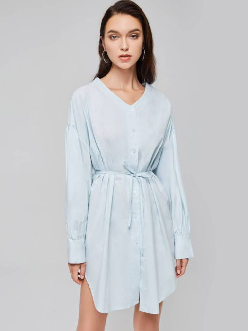 V-Neck Lantern Sleeve Button Day Dress