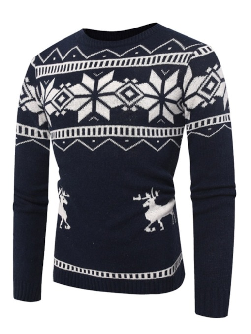 Ugly Christmas Elk Snowflake Pattern Slim Men's Sweater