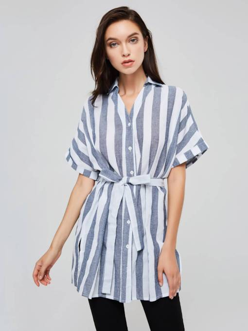 Batwing Sleeve Lapel Stripe Women's Day Dress