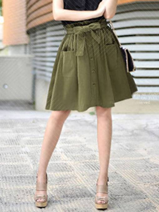 Lace-Up Pleated Button Pocket Women's Mini Skirt