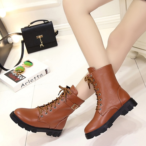 Round Toe Lace-Up Front Block Heel Buckle Casual Martin Boots