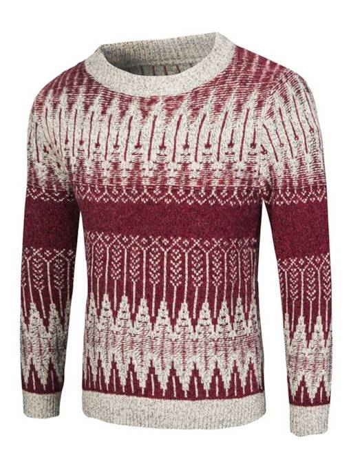 Scoop Neckline Ethnic Loose Patchwork Men's Sweater