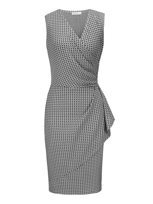 Office Lady V-Neck Sleeveless Women's Pencil Dress