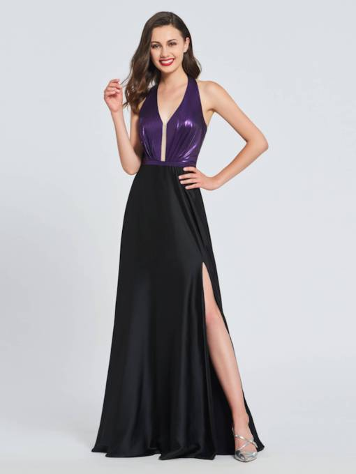 A-Line Halter Sequins Split-Front Prom Dress