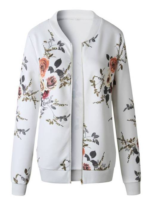 Plain Zipper Up Stand Collar Floral Women's Jacket