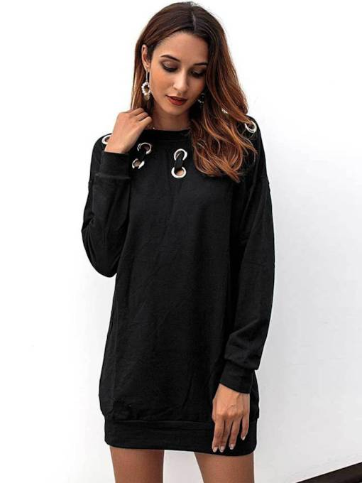 Black Pullover Hollow Women's Long Sleeve Dress