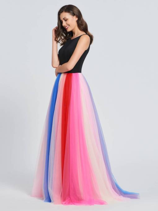 A-Line Bateau Multi Color Prom Dress
