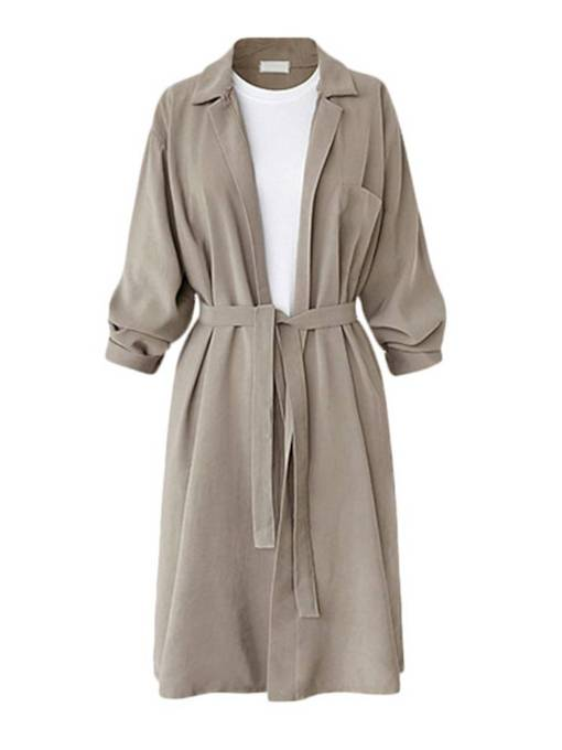 Plus Size Notched Lapel Belt Mid Length Women's Wrap Coat