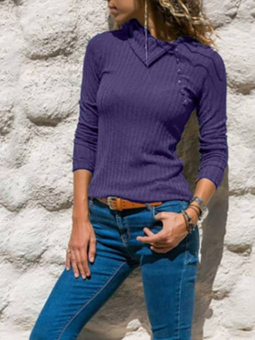 Asymmetric Long Sleeve Button Down Women's Sweater