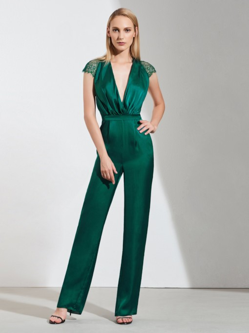 Sheath Deep V-Neck Lace Evening Jumpsuits 2019