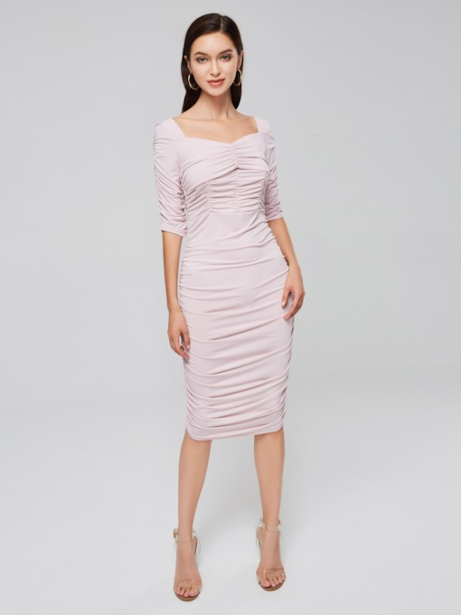 Pink Ruffle Slash Neck Bodycon Dress