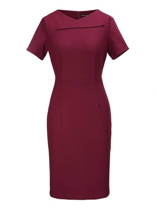 Office Lady Short Sleeves Women's Pencil Dress