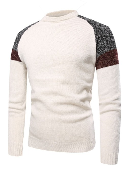 Raglan Sleeve Patchwork Slim Men's Sweater