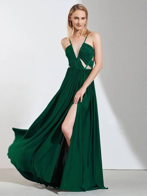 Spaghetti Straps Split-Front A-Line Pleats Evening Dress
