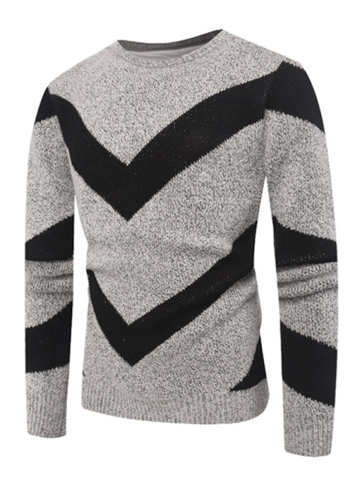Inverted triangle Patchwork Slim Men's Sweater