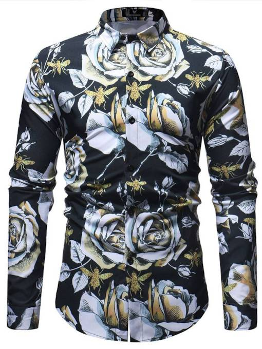 Lapel Slim Floral Print Men's Long Sleeves Shirt