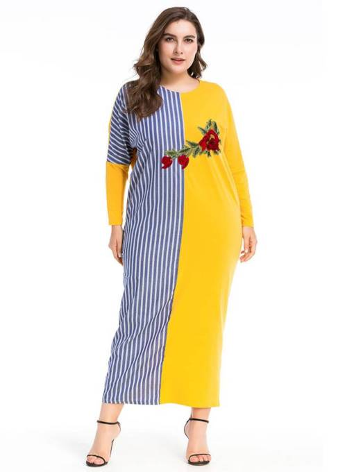 Embroidery Color Block Long Sleeve Women's Maxi Dress