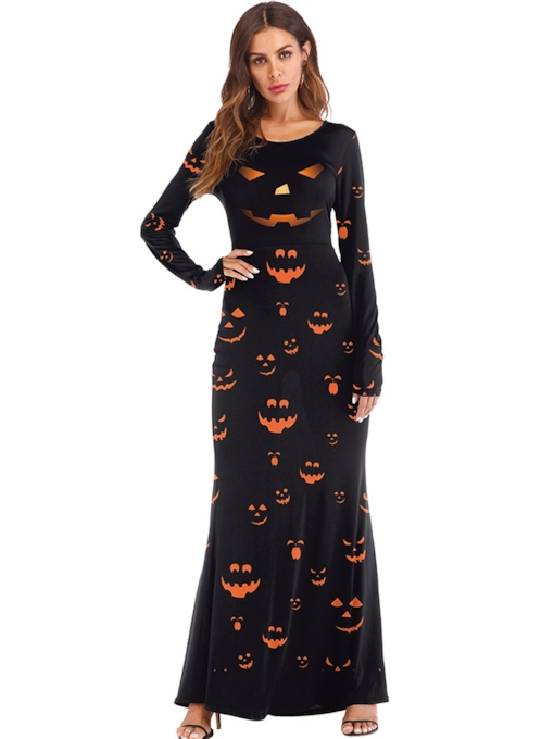 Long Sleeves Print Women's Maxi Dress