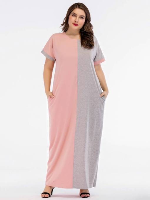 Color Block Short Sleeves Pocket Women's Maxi Dress