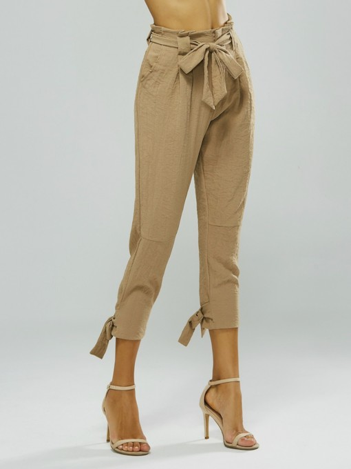 Wild High Waist Solid Color Tapered Paper Bag Pants